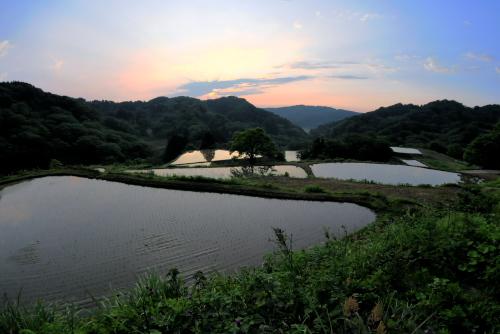 吉川:HDRで撮影した棚田の夕焼け
