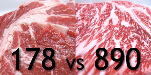 178円 vs 890円 - ステーキ肉対決
