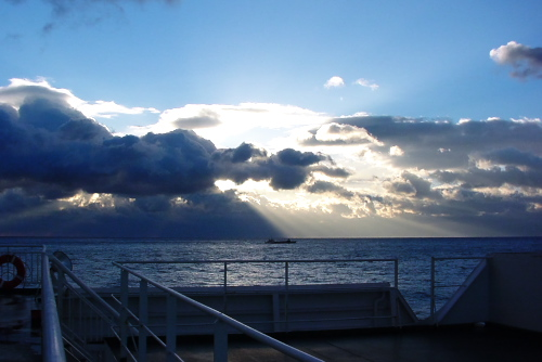 大洗港から三井商船フェリーに乗船