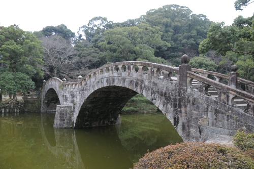 諫早公園 / 池にかかる眼鏡橋
