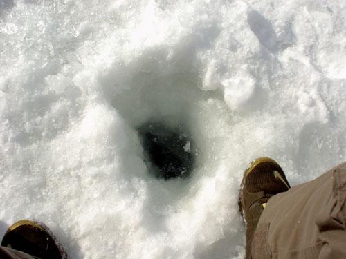 榛名湖:穴があいた