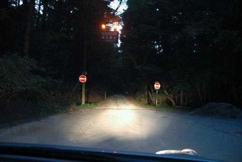 高円山で日暮れを待つ